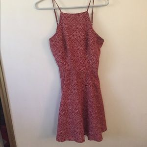 red and white patterned dress